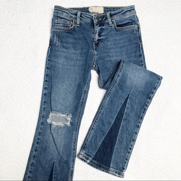 Free People Denim - Free People Boot Cut Dark Insert Jeans Sz 24